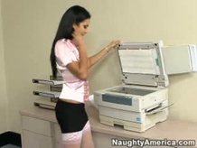Photocopying her beautiful tits