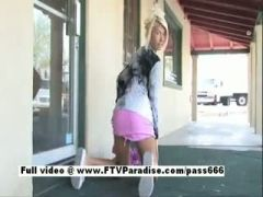 Awesome girl Danica blonde girl public flashing tits and posing panties