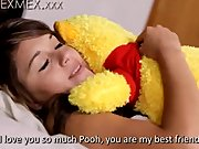 Mexican Teen playing with her Winnie the Pooh