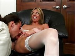 Tan lined MILF back at it with white stockings