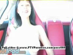Sexy babe naked in the car