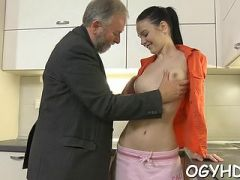 Young amazing cutie gives a blow to old knob