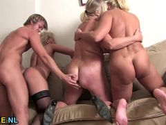 Young guy doing three matures  HD