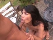 Steamy pounding outdoors