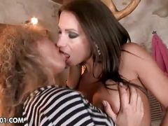 Nasty lesbians with big boobs licking and fingering