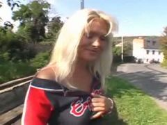 Sexy Blonde from Europe Kathy Anderson has public sex