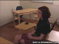 Wicked schoolgirl spanked