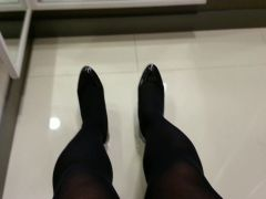 Black Patent Pumps with Pantyhose Teaser