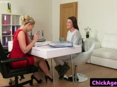 Fashionable casting lesbos finger fuck in office