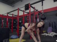 Hot Brunnete Aubrey gets her pussy pounded by her personal trainor
