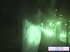 Girl masturbates on night vision camera