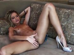 Franziska Facella with small breasts and bald snatch is totally naked and plays with her fuck hole non-stop