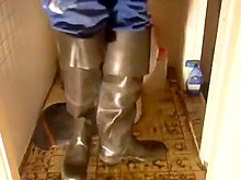 nlboots - rubber bata waders, blue coveralls, smoking & piss