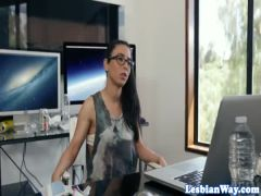 Office dykes scissor hard after business call