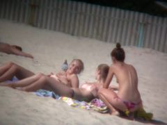 Nudist beach has lots of skinny white chicks to offer