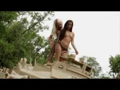 Nude Hotties Driving a Tank