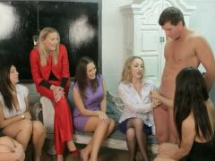 Femdoms in team humiliating their sub in Dissolute high def