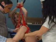 Extreme vibrator anal sex with rope BDSM teacher