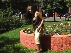 Sexy Woman Pissing On The Street