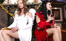 Girls dressed as angel and devil have lesbian sex