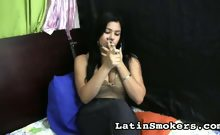 Katherin simply relaxes and smokes
