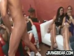 Horny girls gagging on strippers meat