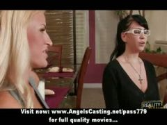 Rich classy lesbians kissing and undressing and licking pussy