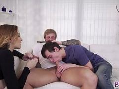 Blonder anal fuck by step dad on top