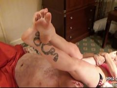 Mixed Wrestling Scissors Submission Blonde Hot Girl