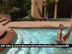 Amateur blonde girl swims then goes to the locker room