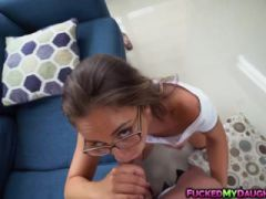 Teen in glasses Layla London pounded by neighbor