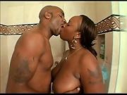 Fat Black Ass fucked in the shower by big black cock