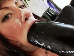 Naughty lezzies fill up their enormous asses with milk and burst it out