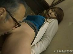 Sexy japanese cock sucker is giving blowjob in the toilet