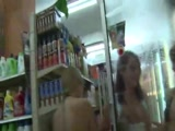 Flashing girls in the store