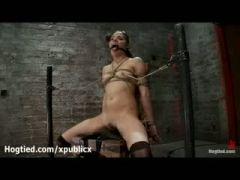 Gagged Evilyn Fierce tied to chair gets vibrated