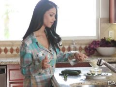 Jasmine Caro cooking up a hot recipe in the kitchen