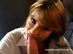 Ava Devine blows a large hard meat pecker at tthis guy kitchen