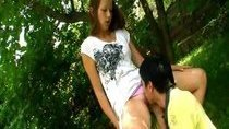 Outdoors with pussy eating and sex