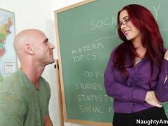 Student bends red hot teacher over the desk and fills her meat