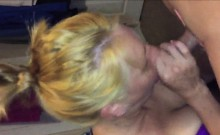 Blonde granny sucking a young cock