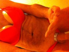 wanking with cum in red lingerie of my wife