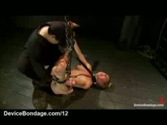 Bound babe pussy flogged and fingered and vibrated
