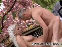 Old man maid Paul is lovin\' his breakfast in the garden with his fresh