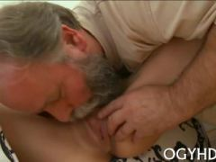 luscious young hottie sucks old cock and gets pussy licked