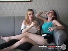 Allie & Mercedes On Lesbians Couch - smoking and drinking (trailer)