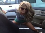 peeing girl without car