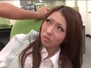Awesome japanese office girl gets screwed on the chair