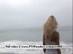 Awesome girl Kori blonde babe on the beach