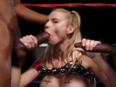 Two Whores In Inter-racial Oral Gangbang
